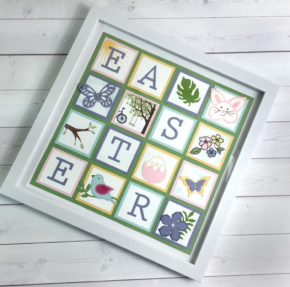 Stampin' Up! Easter Sampler Spring Wall Decor Framed Punch and Stamped Art