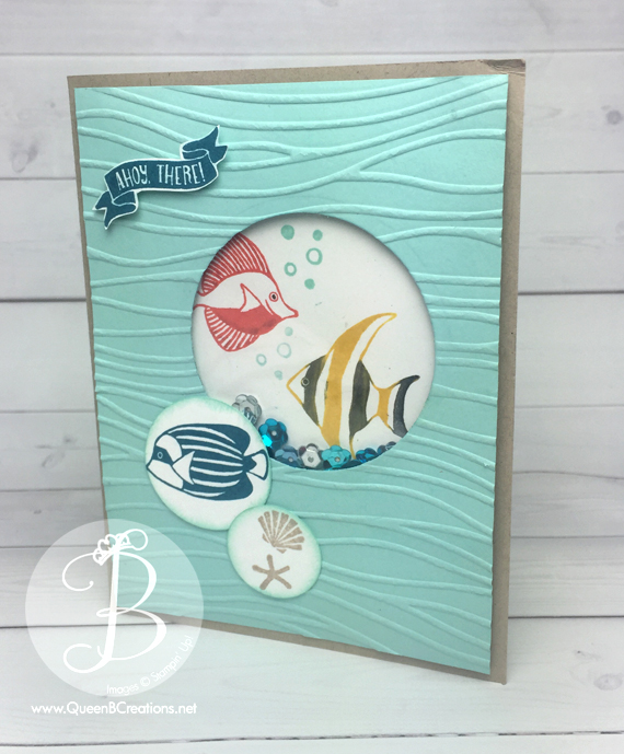 Pals Paper Arts sketch challenge Stampin' Up! Seaside Shore Fish Shaker card by QueenBCreations