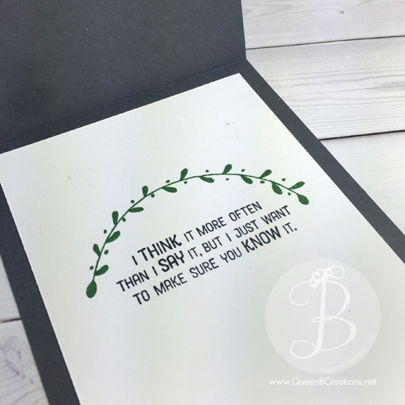 Stampin' Up! Flourishing Phrases sentiment on the interior of a card by Queen B Creations