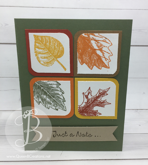 Fun Fall card made from Stampin' Up! Vintage Leaves by Queen B Creations.