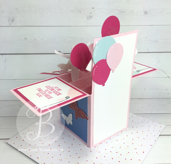 Custom card in a box order birthday gymnastics from www.QueenBCreations.com