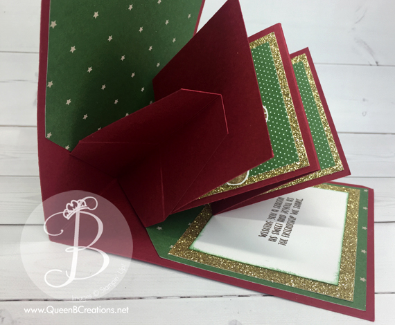 Stampin' Up! Cookie Cutter Christmas pop up panel card for the Pals Wicked Folds blog hop - made by Queen B Creations