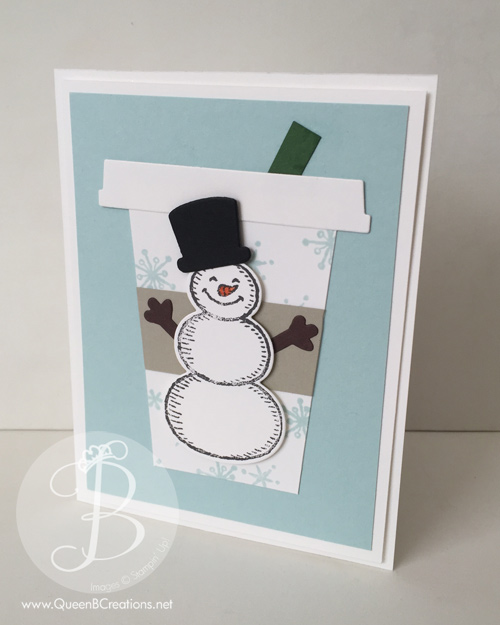 Stampin' Up! Snow Place snowman coffee cup by Queen B Creations