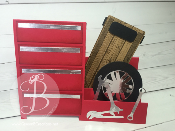 Mechanics Toolbox fancy fold card made by Stampin' Up! demo Lisa Ann Benard of Queen B Creations