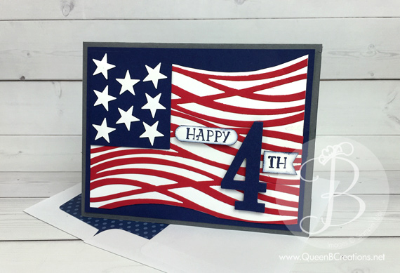 4th of July card made using the Stampin' Up! Swirly Scribbles thinlit dies and the number of years bundle made by Queen B Creations