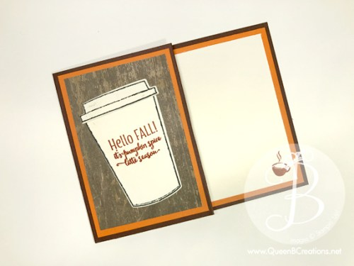 Hello Fall Pumpkin Spice Gift Card Holder made with Stampin' Up! Merry Cafe Stamp set by Queen B Creations