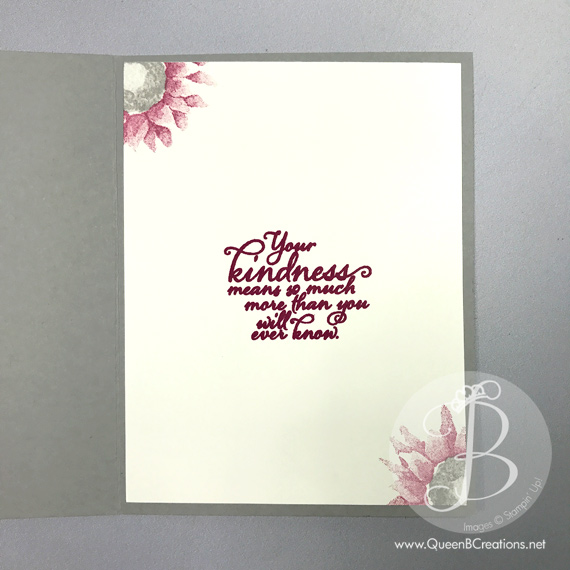 The Stampin' Up! Painted Harvest stamp set was made to make this handmade card with Berry Burst and Smokey Slate inks by Queen B Creations
