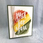 Just for You retired Stampin Up heat emboss resist technique handmade watercolor card by Queen B Creations