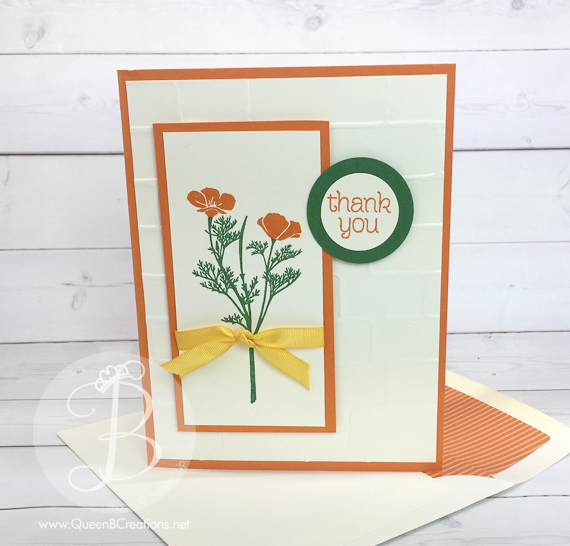 Stampin' Up! Wild About Flowers California Poppy Thank You Card Handmade Greeting Card by Queen B Creations