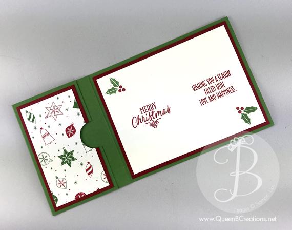 Christmas stocking gift card holder Stampin' Up handmade card by Lisa Ann Bernard of Queen B Creations