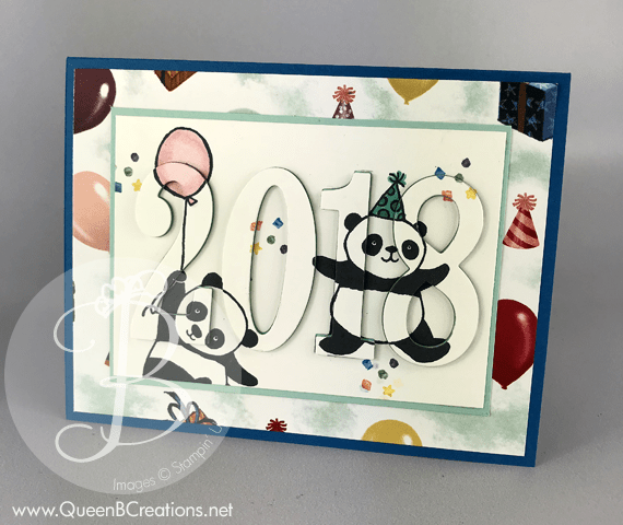 2018 Stampin' Up! Sale-a-braton Party Pandas Handmade Eclipse Card by Lisa Ann Bernard of Queen B Creations