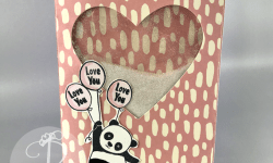 Stampin' Up! Party Pandas Sale-A-Bration 2018 Valentine Shaker card by Lisa Ann Bernard of Queen B Creations