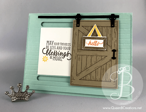 stampin up sliding barn door hand stamped card with a moving door made by Lisa Ann Bernard of Queen B Creations