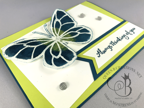 Stampin' Up! Beautiful Day Brusho Butterfly handmade card by Lisa Ann Bernard of Queen B Creations
