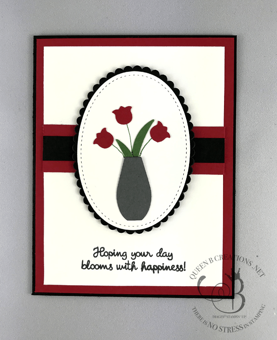 Stampin' Up! Varied Vases tulips in a vase black and red card by Lisa Ann Bernard of Queen B Creations
