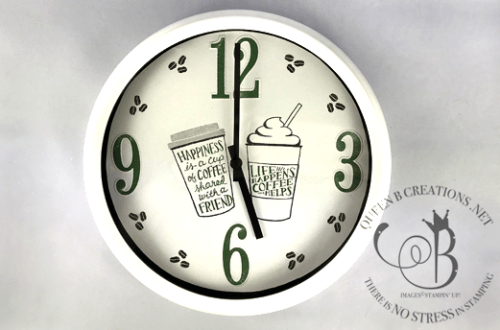 Stampin' Up! Coffee Cafe clock makeover by Lisa Ann Bernard of Queen B Creations