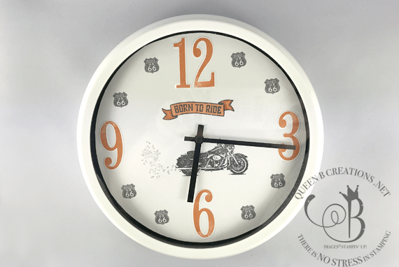 Stampin' Up! One Wild Ride clock makeover by Lisa Ann Bernard of Queen B Creations