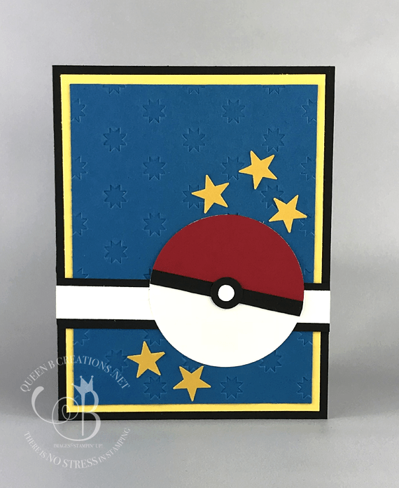 Stampin' Up! Pokemon cad Pokeball punch art handmade card made by Lisa Ann Bernard of Queen B Creations