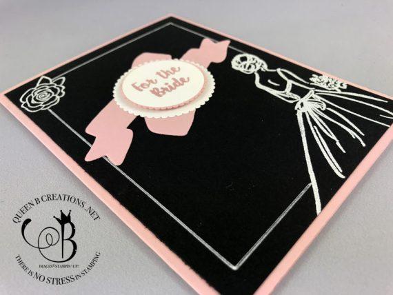 Stampin' Up! heat embossing blackboard technique handmade wedding card by Lisa Ann Bernard of Queen B Creations