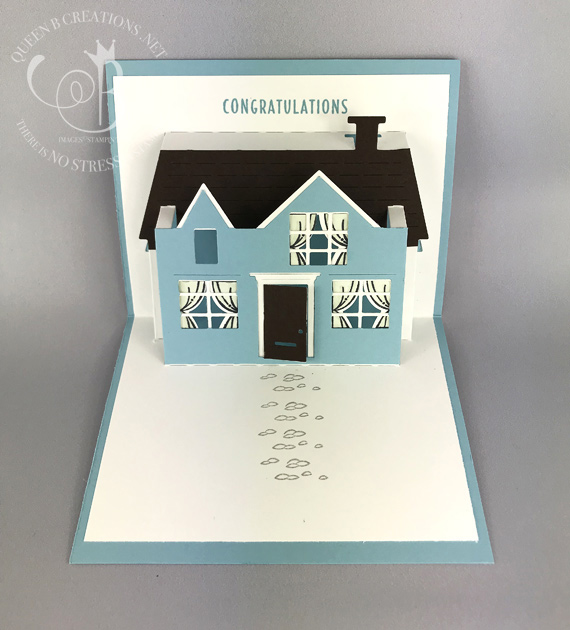 Stampin' Up! Pop on By stamp set with Pop Up House thinlit dies make an awesome thank you card for a realtor to congratulation new homeowners on their new home. Card made by Lisa Ann Bernard of Queen B Creations