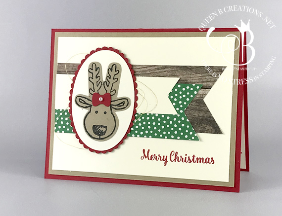 Stampin' Up! Cookie Cutter Christmas handmade reindeer card made by Lisa Ann Bernard of Queen B Creations
