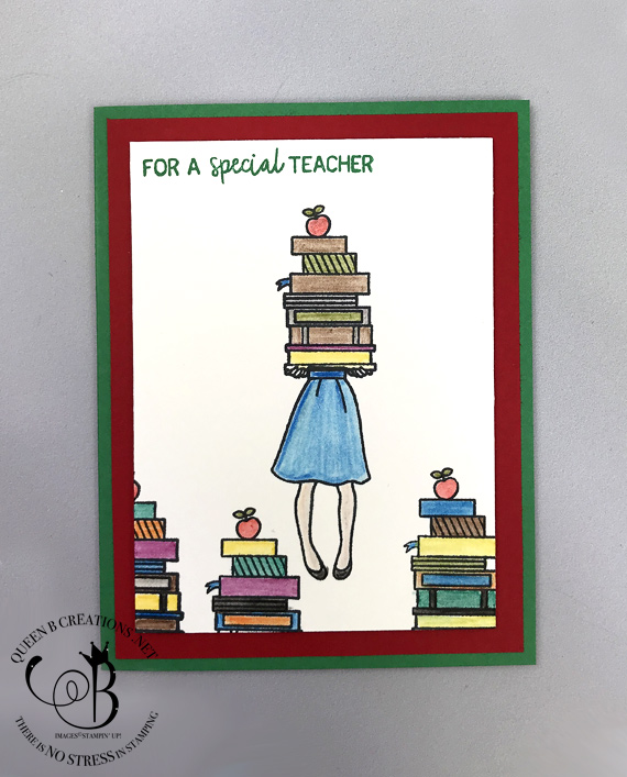 Stampin' Up! Hand Delivered Host stamp set teacher thank you books card colored with watercolor pencils and blender pen by Lisa Ann Bernard of Queen B Creations