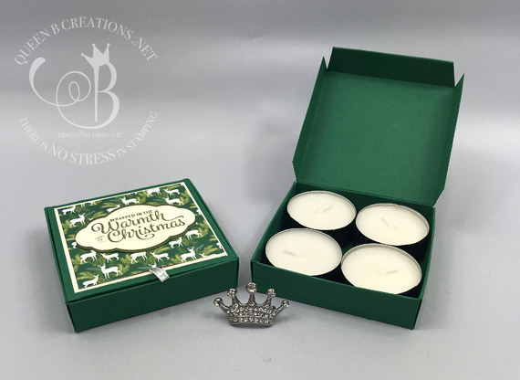 Stampin' Up! tealight box. Snowflake Sentiments stamp set.  Under the Mistletoe DSP. 3D papercrafting. Very study little box.  Video instructions on blog post. By Queen B Creations