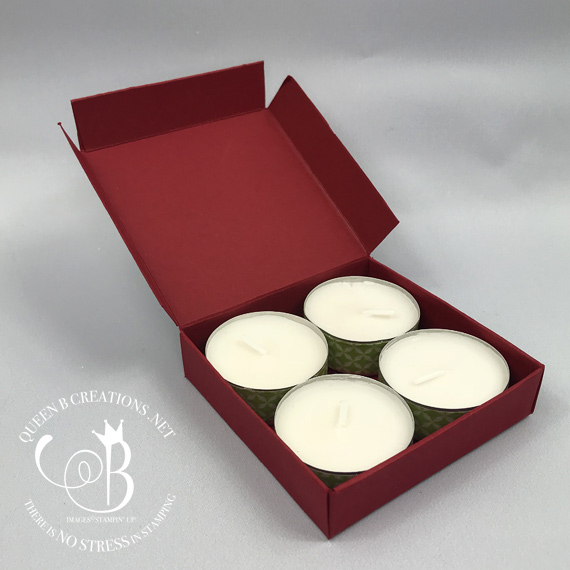 Stampin' Up! Snowflake Sentiments handmade tealight box by Lisa Ann Bernard of Queen B Creations