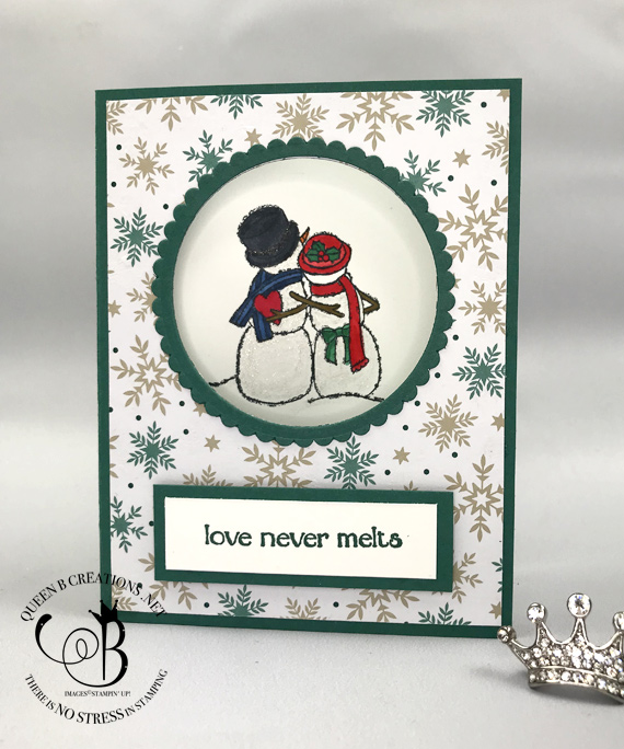Stampin Up Spirited Snowmen love never melts handmade circle card by Lisa Ann Bernard of Queen B Creations