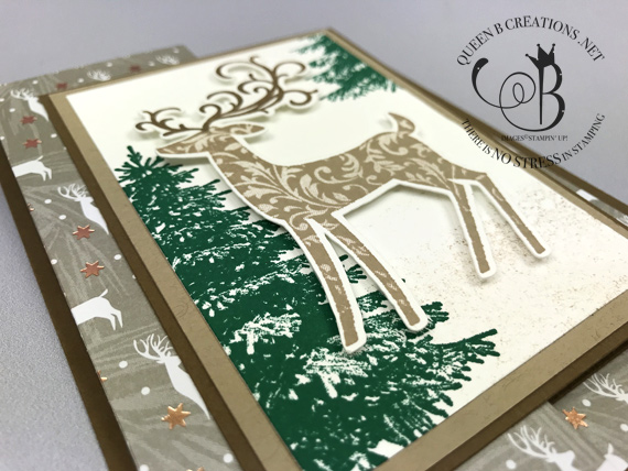 Stampin' Up! Dashing Deer Joyous Noel DSP fancy fold Christmas card by Lisa Ann Bernard of Queen B Creations