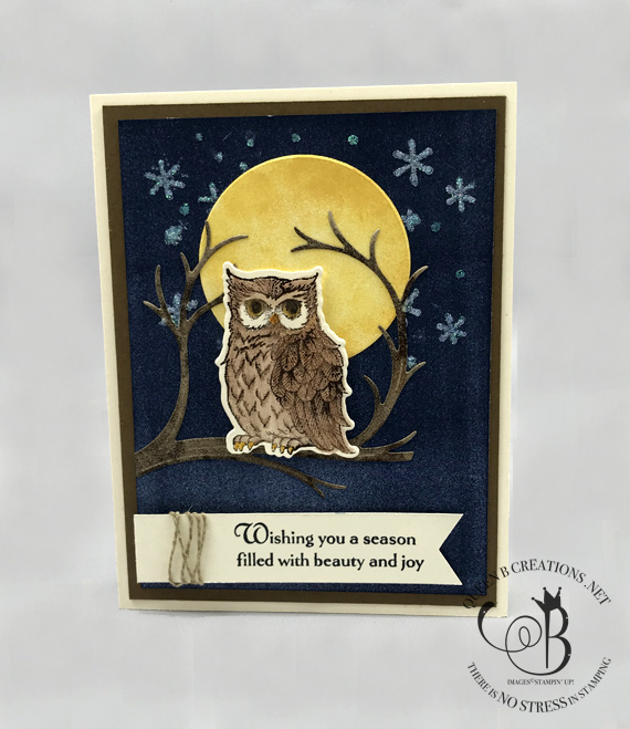 stampin up still night owl in a tree with moon in the background handmade card by Lisa Ann Bernard of Queen B Creations