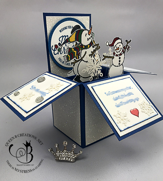 Stampin' Up! Spirited Snowmen and Farmhouse Christmas card in a box that sparkles and shines by Lisa Ann Bernard of Queen B Creations