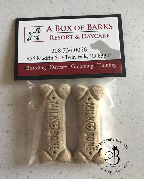 bag toppers over milk bone dog bones by Lisa Ann Bernard of Queen B Creations for A Box of Barks