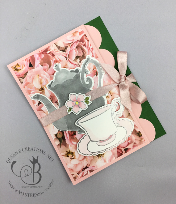Stampin' Up! Tea Together zfold handmade fancy fold card by Lisa Ann Bernard of Queen B Creations