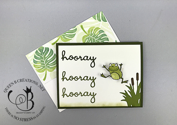 Learn how to make a wobble card (video). Stampin' Up! So Hoppy Together Wobble frog handmade card by Lisa Ann Bernard of Queen B Creations