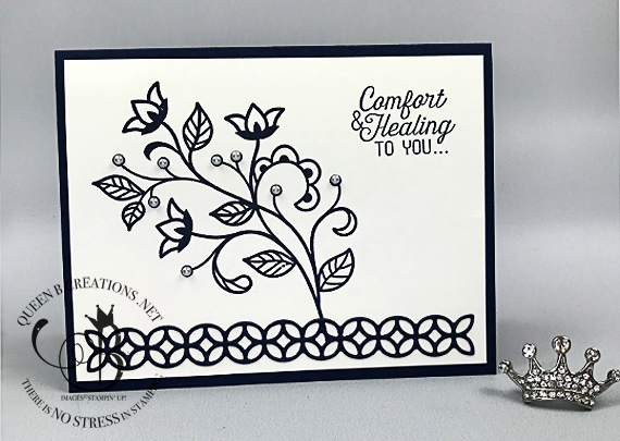 Stampin' Up! Fourishing Phrases Handmade Sympathy card by Lisa Ann Bernard of Queen B Creations
