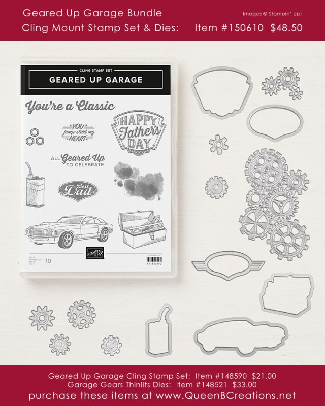 Stampin' Up! Geared Up Garage Bundle cling stamp set and garage gears thinlits dies