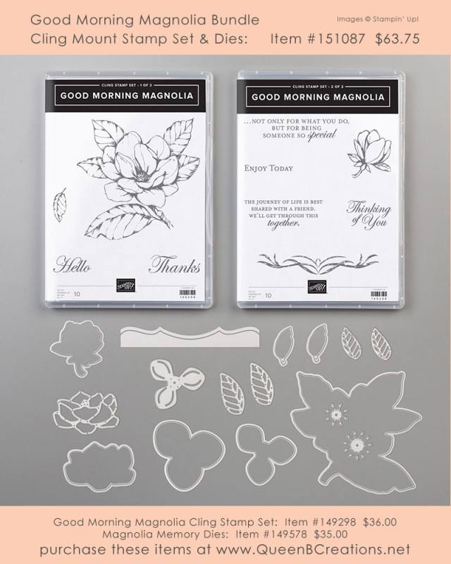 Good Morning Magnolia Stamp Set new in the 2019-2020 Stampin' Up! Annual Catalog Get yours from Lisa Ann Bernard of Queen B Creations