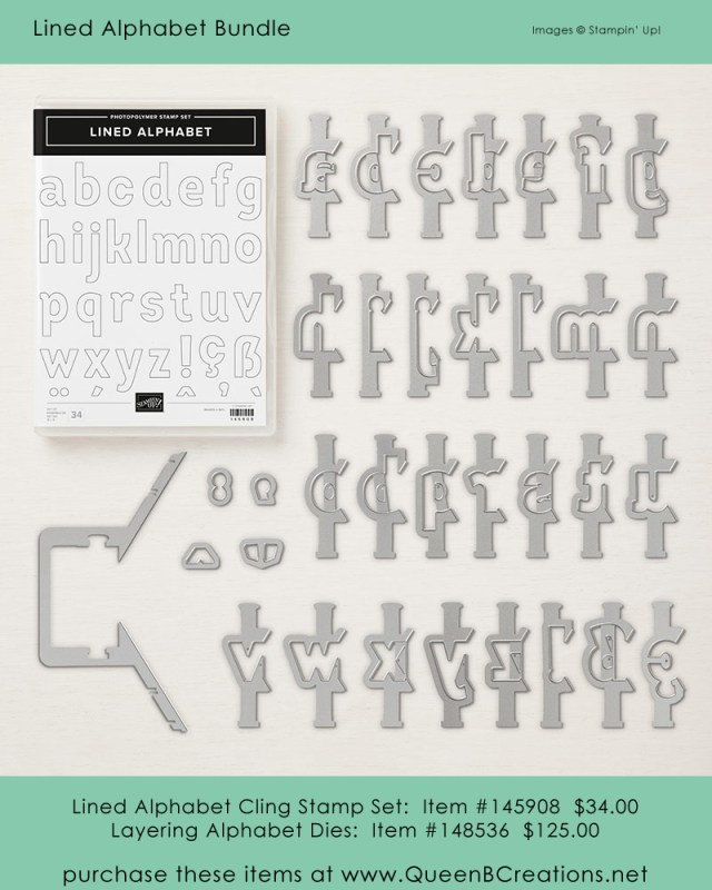 Stampin' Up! Lined Aphabet Stamp Sett and Layering Alphabet Dies Purchase from Lisa Ann Bernard of Queen B Creations