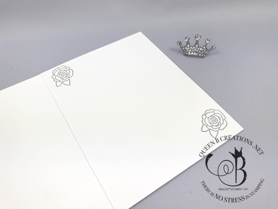Stampin' Up! Blooming Heart white wedding card with sparkle glimmer paper by Lisa Ann Bernard of Queen B Creations