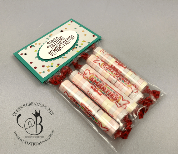 Stampin' Up! Stamping Your Way To the Top stamp set bag topper for smarties #OnStage2019 gifts for downline by Lisa Ann Bernard of Queen B Creations