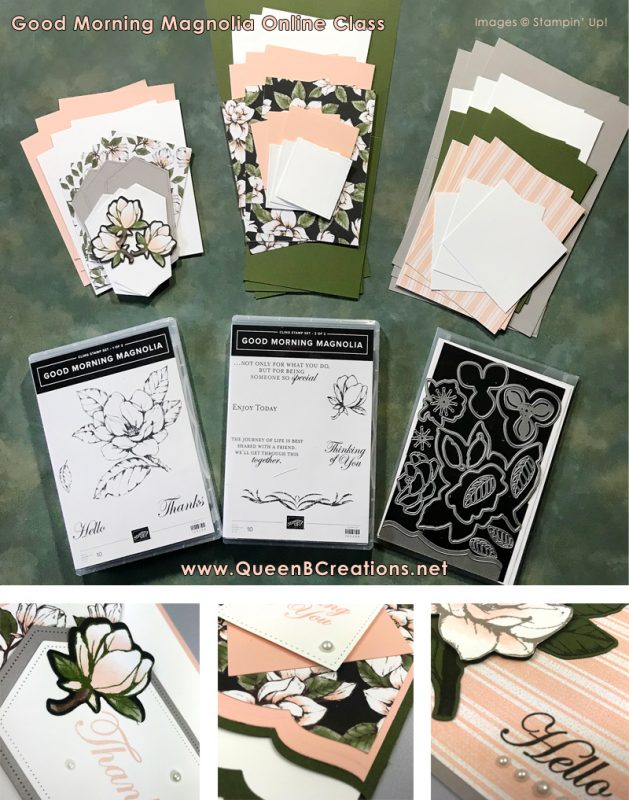 Online Class by mail. Stampin' Up! Good Morning Magnolia Online Class Tutorials and Instructions plus videos by Lisa Ann Bernard of Queen B Creations