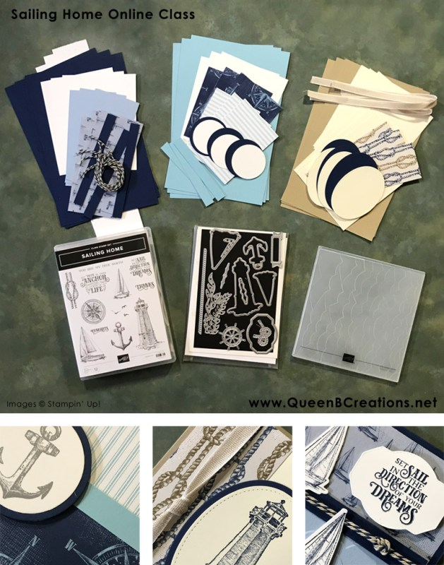 Online class by mail. Stampin' Up! Sailing Home bundle of nautical handmade cards by Lisa Ann Bernard of Queen B Creations