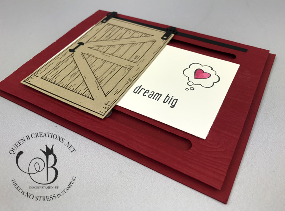 Stampin' Up! Barn Door and Over the Moon stamp sets make up this super cute red barn handmade card telling them to dream big! By Lisa Ann Bernard of Queen B Creations