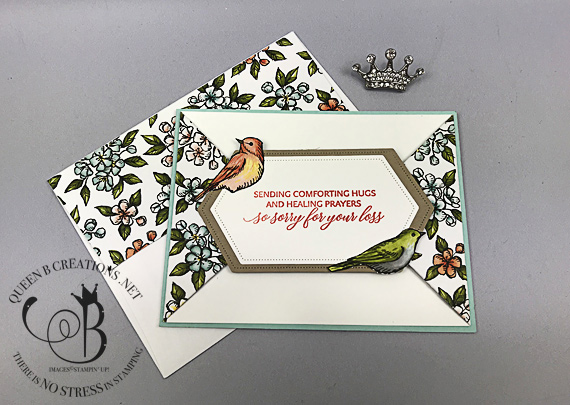 Stampin' Up! Free As A Bird bundle Bird Ballad DSP double point fold handmade card by Lisa Ann Bernard of Queen B Creations
