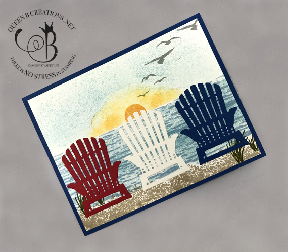 Stampin' Up! High Tide stamps and Seasonal Layers Dies Beach Scene with Adirondack Chairs 4th of July card by Lisa Ann Bernard of Queen B Creations