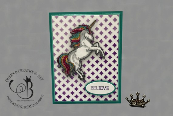 Stampin Up! Leave a Little Sparkle handmade unicorn stamp using ombre method with embossing paste by Lisa Ann Bernard of Queen B Creations