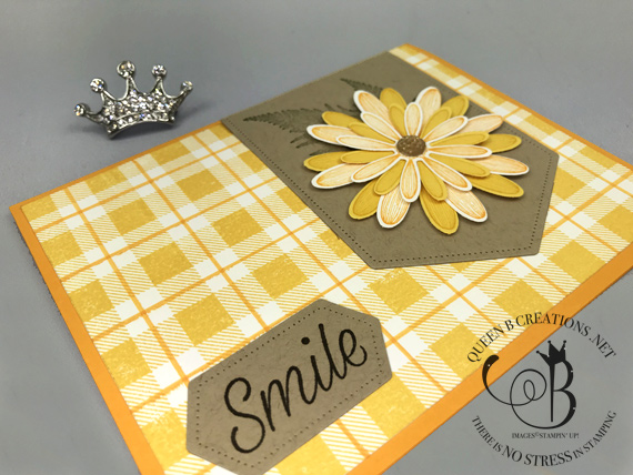 Stampin' Up! Daisy Lane Buffalo Plaid stitched labels dies handmade smile card by lisa Ann Bernard of Queen B Creations