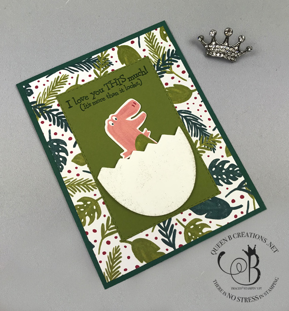 Stampin' Up! Dino Days bundle, Dino Dies, Dino Roar suite handmade kids card made by Lisa Ann Bernard of Queen B Creations