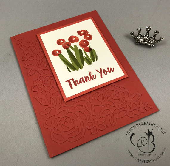 Stampin' Up! 2019-2021 in colors Abstract Impressions handmade thank you card by Lisa Ann Bernard of Queen B Creations Seaside Spray